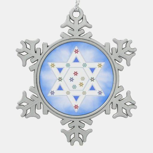 Estrella y copos de nieve de Jánuca azules Adornos