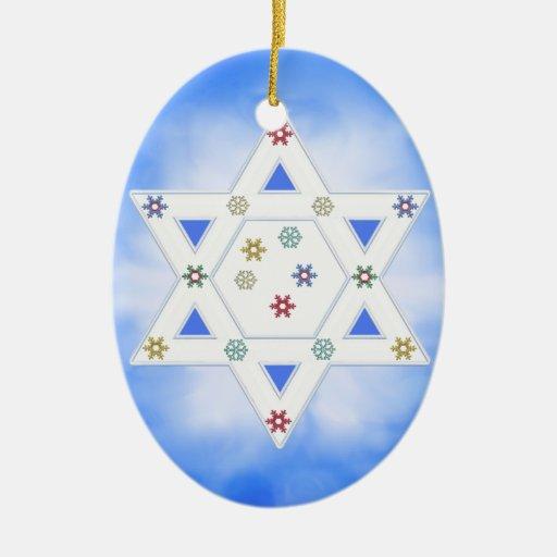 Estrella y copos de nieve de Jánuca azules Ornamento Para Reyes Magos