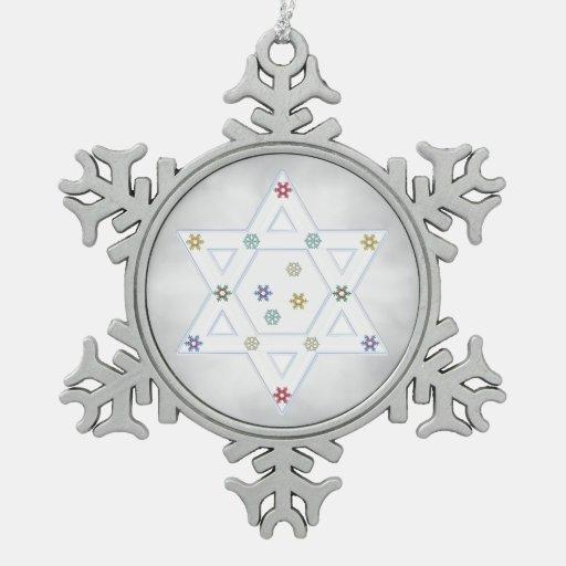 Estrella y copos de nieve de Jánuca grises Adornos