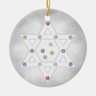 Estrella y copos de nieve de Jánuca grises Adorno Redondo De Cerámica