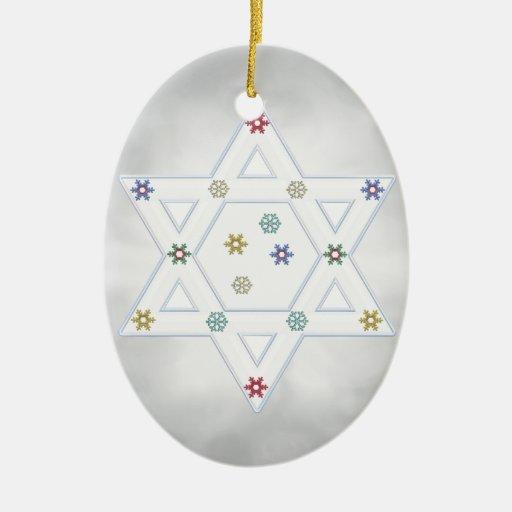 Estrella y copos de nieve de Jánuca grises Adorno De Reyes