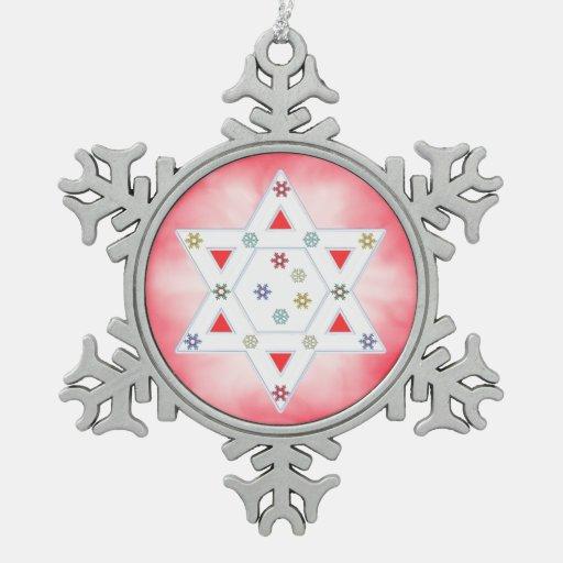 Estrella y copos de nieve de Jánuca rojos Adornos