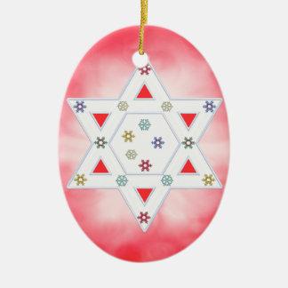 Estrella y copos de nieve de Jánuca rojos Adorno Ovalado De Cerámica