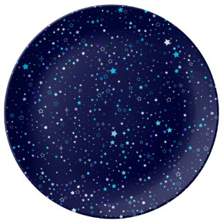 Estrellas azules 2 - placa plato de porcelana