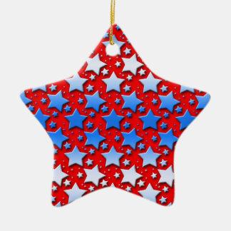 Estrellas azules del blanco en rojo adorno de cerámica en forma de estrella