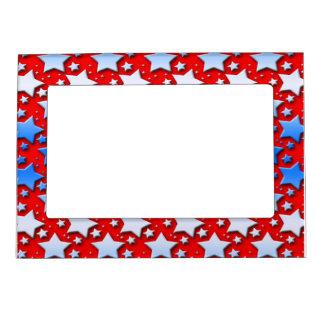 Estrellas azules del blanco en rojo marcos magnéticos de fotos