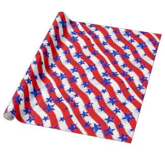 Estrellas azules patrióticas onduladas sobre rayas papel de regalo