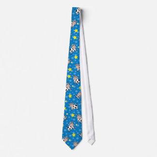 Estrellas azules y puntos de las vacas felices corbata personalizada