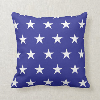 Estrellas blancas, azules, almohada de tiro