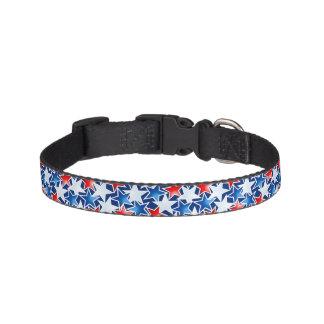 Estrellas blancas y azules rojas collar para mascotas