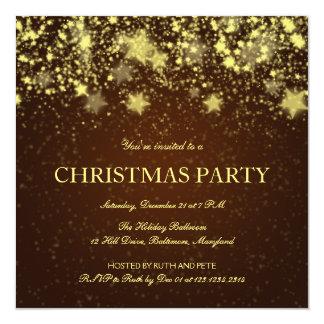 Estrellas brillantes Brown de la fiesta de Navidad Invitación Personalizada
