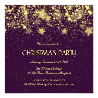 Estrellas brillantes de la fiesta de Navidad Invitación
