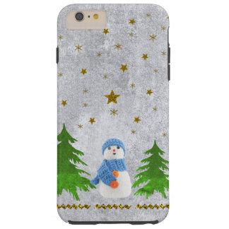 Estrellas brillantes del oro, muñeco de nieve y funda resistente iPhone 6 plus