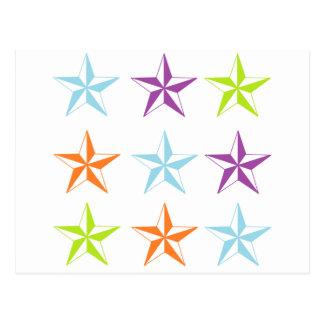 Estrellas brillantes y del blanco tarjetas postales