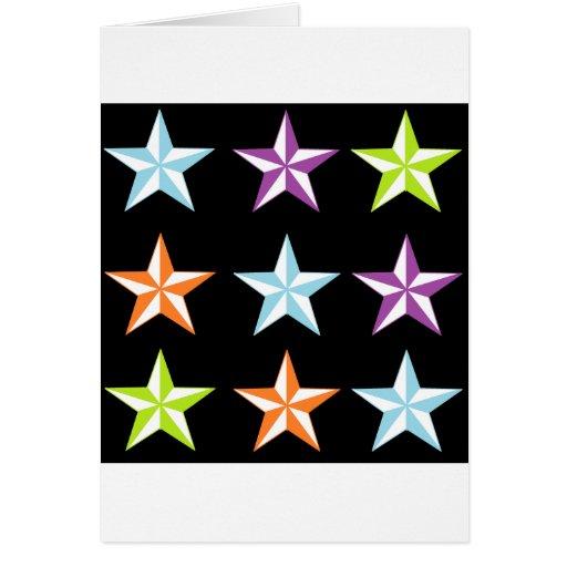 Estrellas brillantes y negras felicitacion