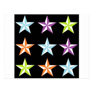 Estrellas brillantes y negras tarjetas postales