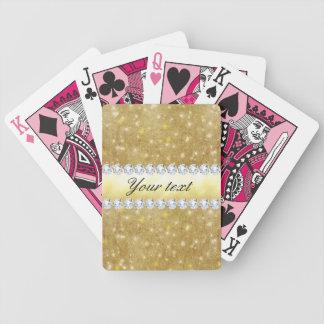 Estrellas chispeantes y diamantes del oro elegante baraja de cartas bicycle