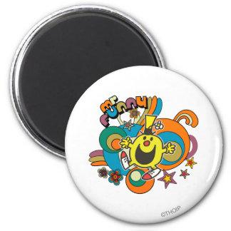 Estrellas coloridas y remolinos de Sr. Funny el | Imán Redondo 5 Cm