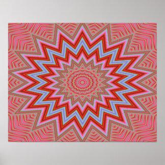 Estrellas concéntricas rojas y rosadas del fondo póster