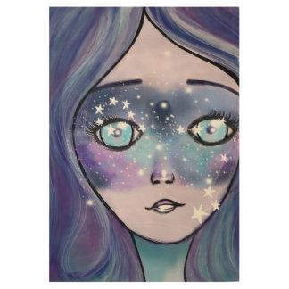 Estrellas de azules de las púrpuras de la póster de madera