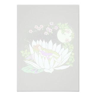 Estrellas de hadas del claro de luna de la flor el invitación 12,7 x 17,8 cm