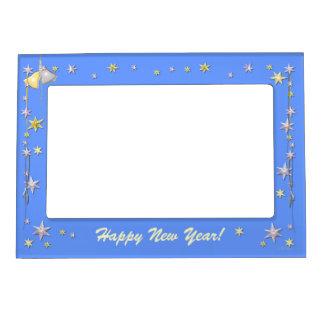Estrellas de la Feliz Año Nuevo en azul Marcos Magnéticos Para Fotos
