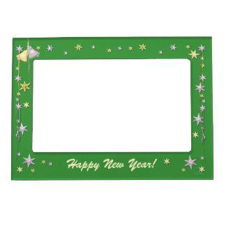 Estrellas de la Feliz Año Nuevo en verde Marcos Magnéticos Para Fotos
