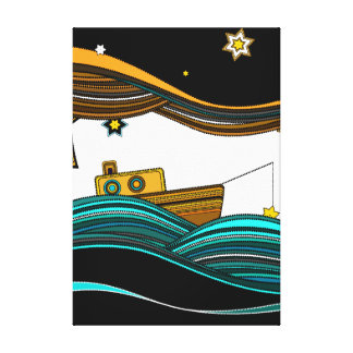Estrellas de la pesca del barco impresión de lienzo
