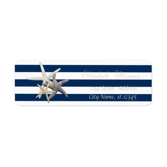 Estrellas de mar adorables, etiqueta del remite de etiqueta de remitente