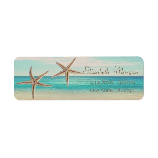 Estrellas de mar adorables, playa, etiqueta del etiqueta de remitente