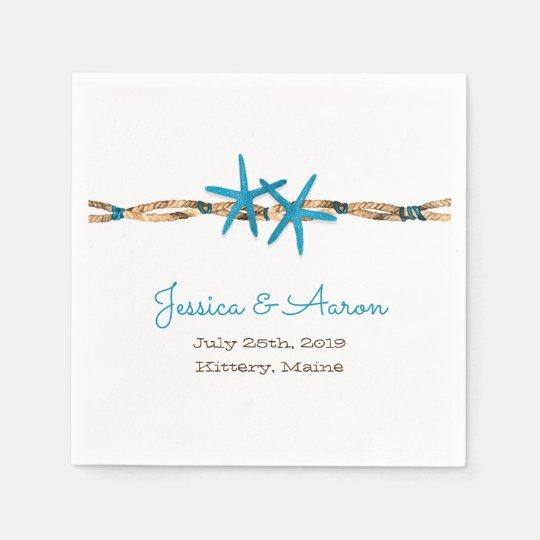 Estrellas de mar de la aguamarina y boda náutico servilleta desechable