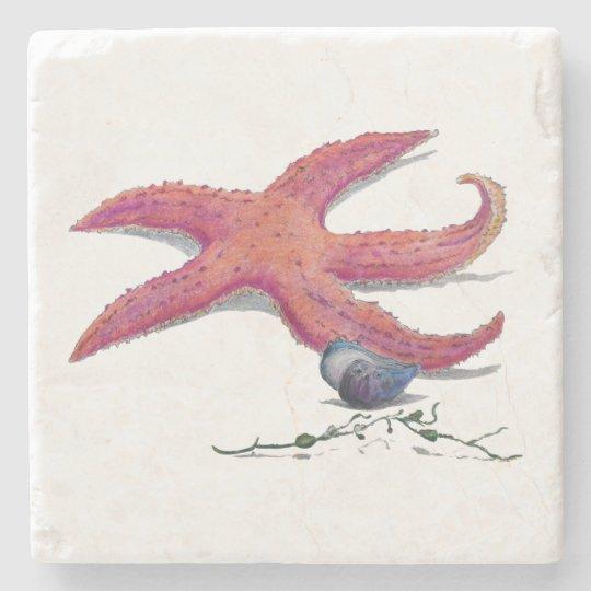estrellas de mar de mármol de la teja del práctico posavasos de piedra