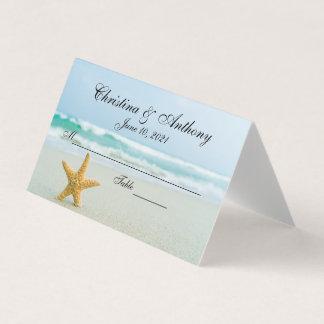 Estrellas de mar en la tarjeta del lugar de la