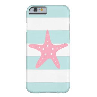 Estrellas de mar rosadas en rayas de la menta funda barely there iPhone 6