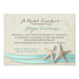 Estrellas de mar y alumerzo nupcial de la cinta invitación 11,4 x 15,8 cm