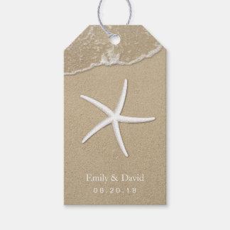 Estrellas de mar y arena del boda de playa etiquetas para regalos