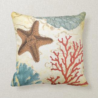 Estrellas de mar y coral del Caribe coloridos Cojín Decorativo