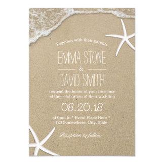 Estrellas de mar y ondas tropicales del boda de invitación 12,7 x 17,8 cm