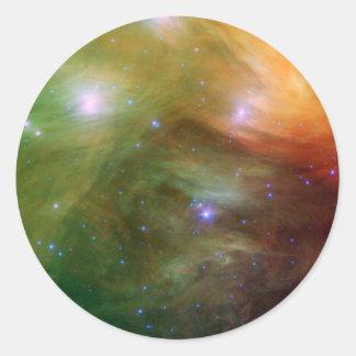 Estrellas de Pleiades en SSC2007 infrarrojo 07A Pegatina Redonda