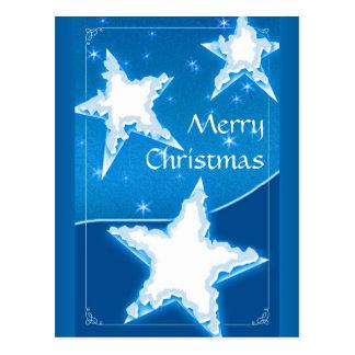Estrellas decorativas del invierno de las Felices Postal