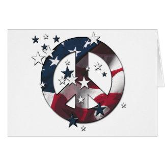 Estrellas del americano del signo de la paz y tarjeta de felicitación