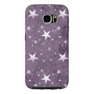 estrellas del blanco del vintage en vector púrpura funda samsung galaxy s6