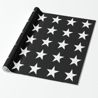 Estrellas del blanco en negro papel de regalo