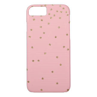 Estrellas del brillo del oro dispersadas en rosa funda para iPhone 8/7