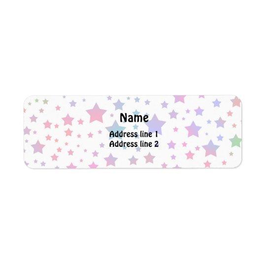 Estrellas del neón etiqueta de remitente