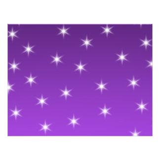 Estrellas del púrpura y blancas, modelo folleto 21,6 x 28 cm