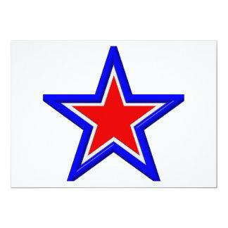 Estrellas del rojo, blancas y azul apilado invitación