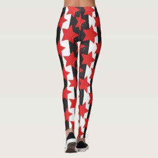 Estrellas del rojo y yoga blanca negra leggings