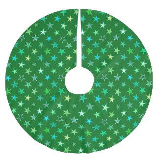 Estrellas, esmeralda y verde lima modernas del falda para el árbol de navidad de poliéster
