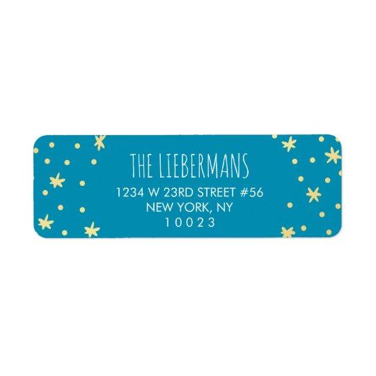 Estrellas lindas del oro + Etiqueta azul del